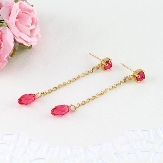 Long gold pink drop earrings, Pink long earrings, #jewelry #earrings @EtsyMktgTool #longearrings #goldearrings #pinkearrings #dropearrings
