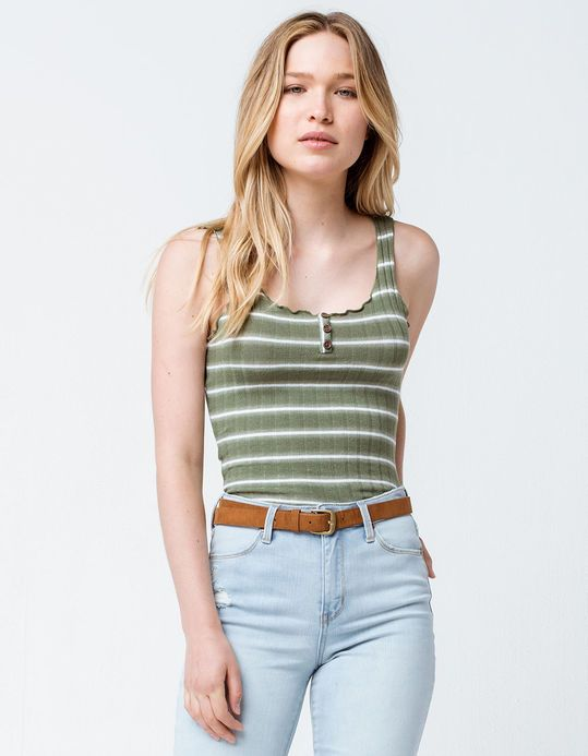 8489d40d SKY AND SPARROW Stripe Lettuce Edge Henley Olive Womens Tank Top ...