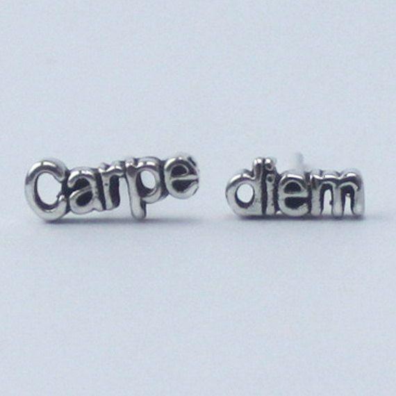 Carpe diem Earrings 'seize the day' , 925 Sterling silver, poetic, inspirational word Earrings. $15.50