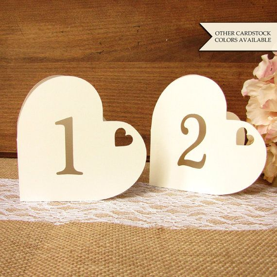 Heart table numbers - Table numbers wedding - Romantic table numbers - Wedding table number - Table number - Valentines day wedding
