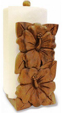 Hawaiian Wood Paper Towel Holder Hibiscus by Buns of Maui. $35.49. Hawaiian Home Accessories add a wonderful tropical touch to your home or office!. A fine wooden serveware that is functional and decorative. Each piece is hand carved from the durable and beautiful acacia wood, which is highly desirable for its lustrous finish and rich grains. Hand wash with damp towel and air dry. Roll of towels not included.
