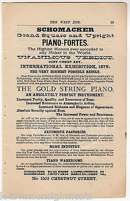 SCHOMACKER PIANO-FORTE MANUFACTURING PHILADELPHIA PA ANTIQUE MUSIC ADVERTISING