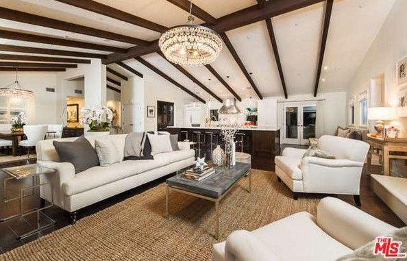The Living Room - Mila Kunis Los Angeles Mansion - Photos