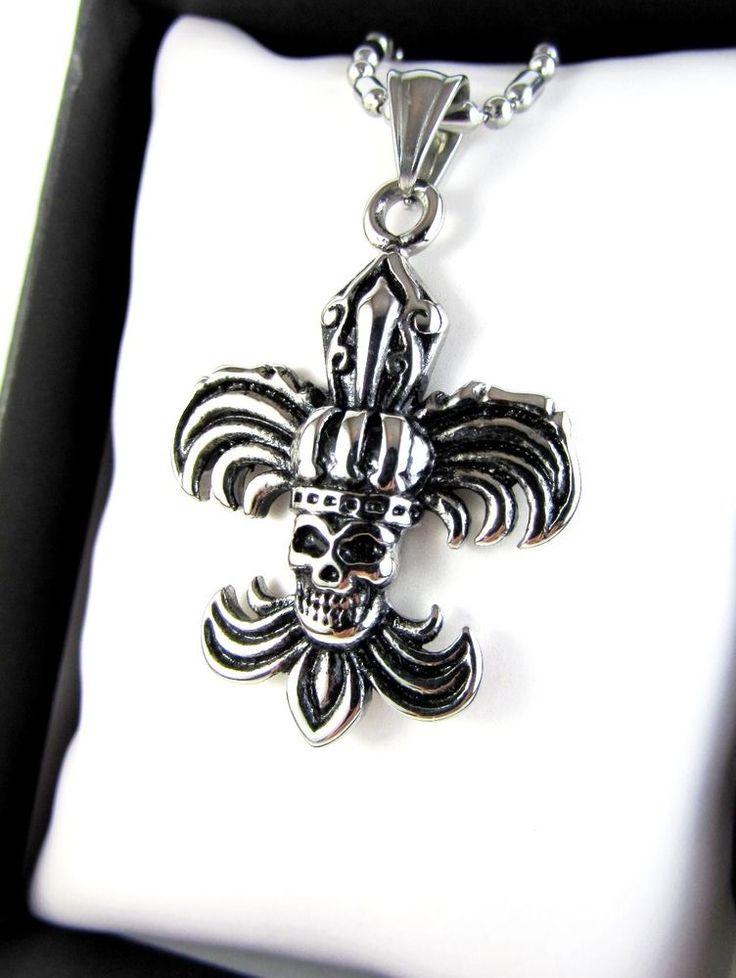 Silver Skull Solid Stainless Steel Pendant Necklace Men Women