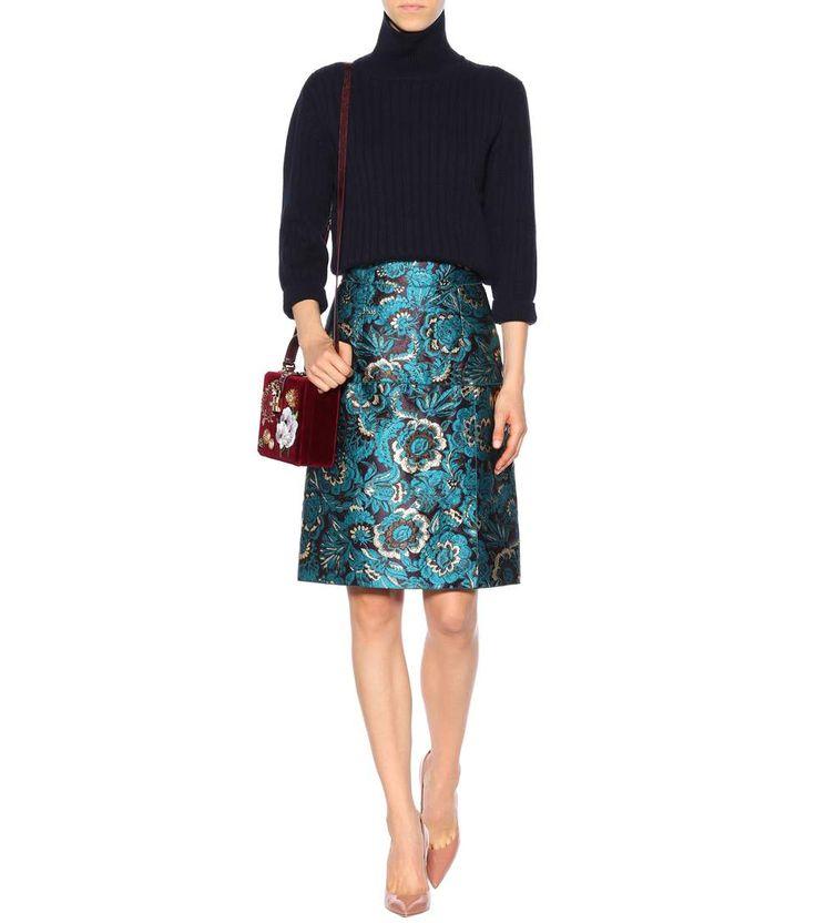 Blue jacquard A-line skirt