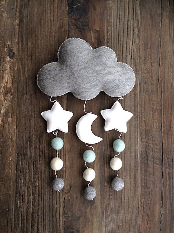 Cloud Moon Stars Mobile, Baby Nursery Mobile, Felt Ball Mobile, Mint White Grey Mobile, Cot Mobile, Crib Mobile, Baby Shower, Nursery Decor – Filz
