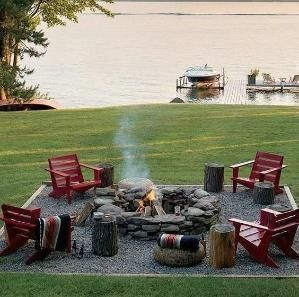 creative way to create a beautiful outdoor sitting area with a fire pit. Gravel is an inexpensive alternative for stone or a cement patio. Creativity Exchange - House Beautiful by tameka