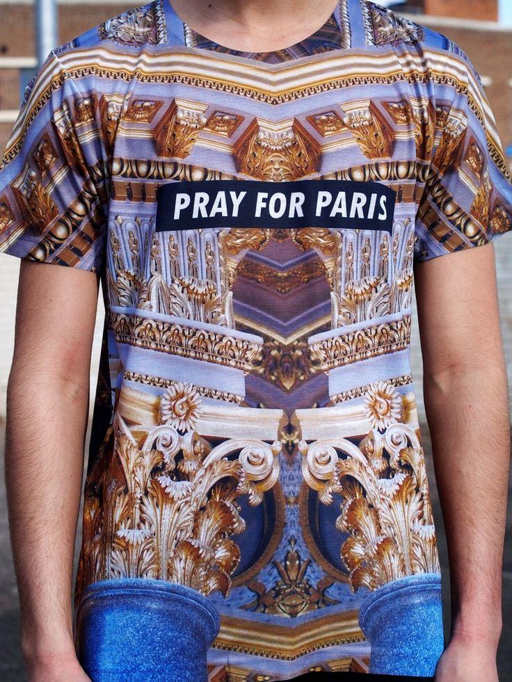 Image of Pray for Paris golden pillars t-shirt (all over print)