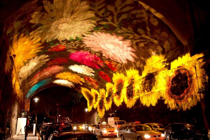 Images of flowers light up the Argyle cut tunnel in The Rocks, Sydney, during the Vivid Sydney festival of light, music & ideas    Photo: Graham Willis