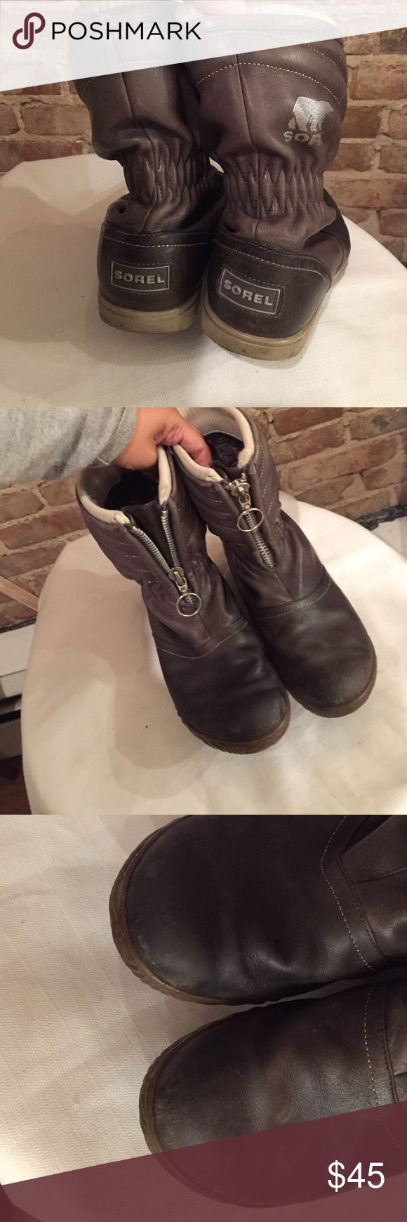 Sorel winter boots in grey/brown Size 8.5 authentic Sorel Boots. Some scuffs on toe but ready to keep you warm and dry. Waterproof snow boots ready for winter!!! Sorel Shoes Ankle Boots & Booties