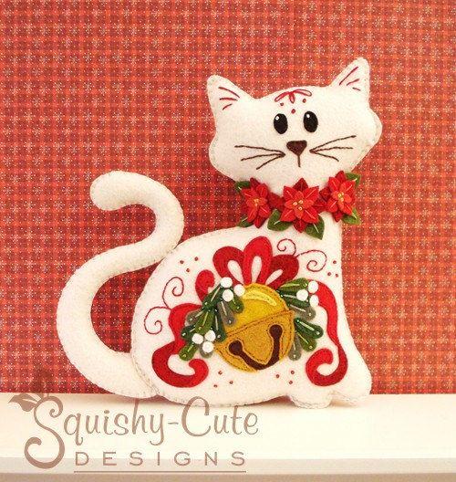 *FELT ART (plush) ~ Cat Stuffed Animal Pattern - Felt Plushie Sewing Pattern & Tutorial - Jingle the Christmas Cat - Christmas Embroidery Pattern PDF