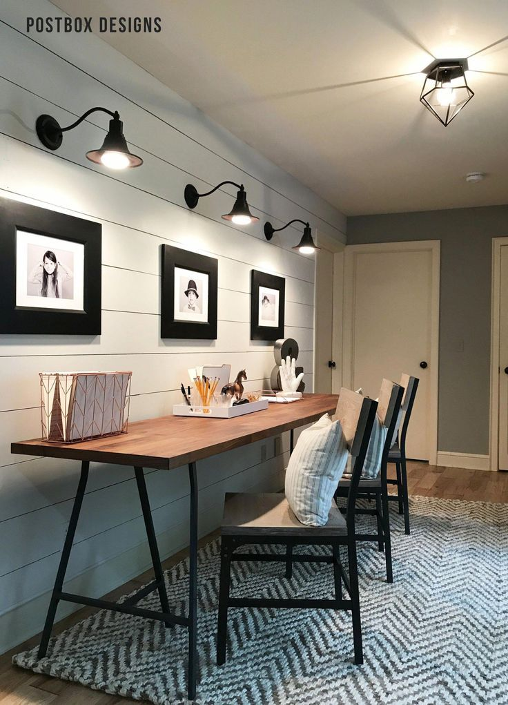 Modern Farmhouse Home Office With Triple Desk For Kids Shared Kid