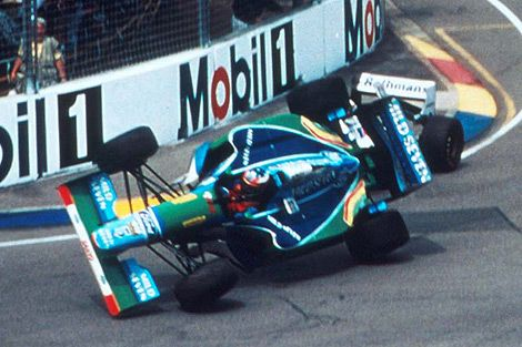 Michael Schumacher, Adelaide 1994, Benetton B194....The incident with Damon Hill (Williams FW16B)