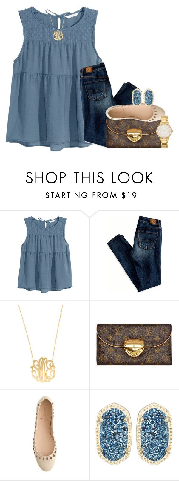 """""""got 3 inches off my hair the other day!!!"""" by thefashionbyem ❤ liked on Polyvore featuring H&M, American Eagle Outfitters, Moon and Lola, Louis Vuitton, J.Crew, Kendra Scott, Kate Spade, women's clothing, women and female"""