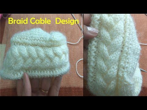 Braid Cable Design in Hindi Knitting (चुटिया केबल  बुनाई में) - YouTube