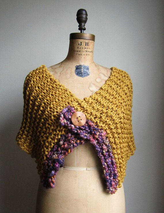 Bohemian Love Organic Cotton knit shawl Saffron by Happiknits