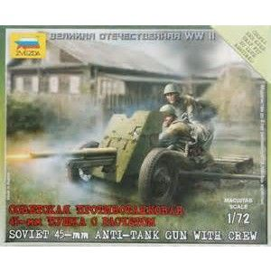 Model Kit 1/72 Zvezda Soviet USSR 45mm Anti Tank Gun Crew