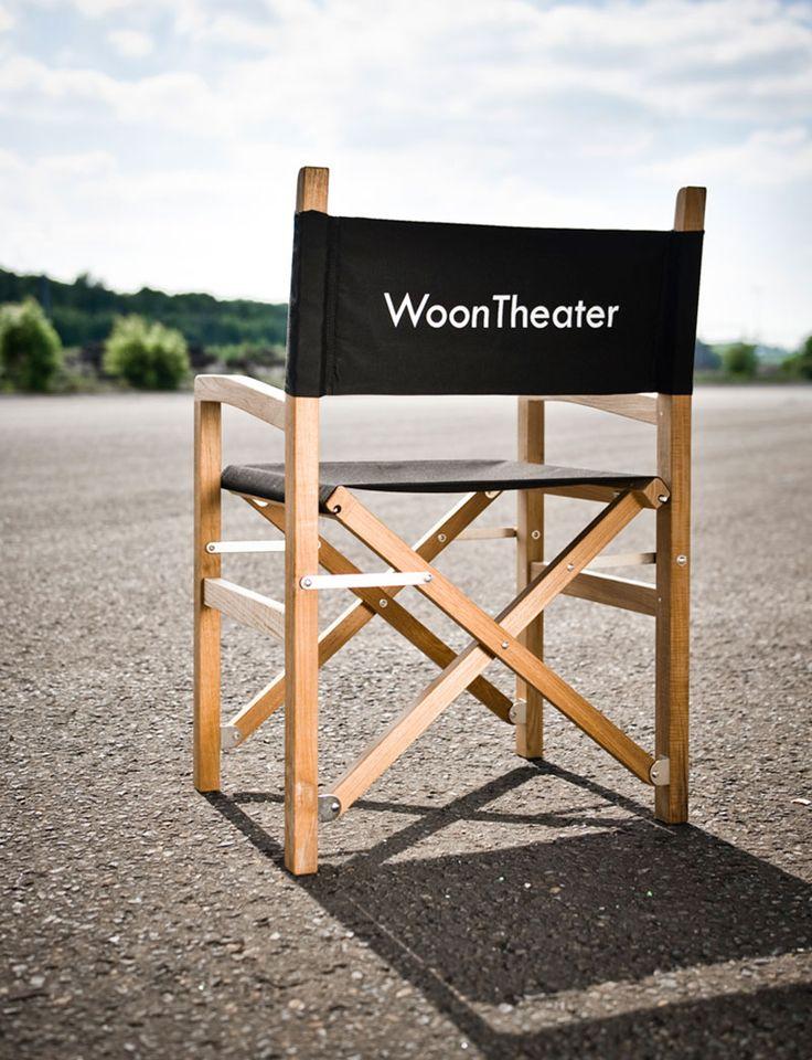 Regisseurstoel met zwarte stof en teak karkas - This chair is fully customizable. - woontheater  #woontheater