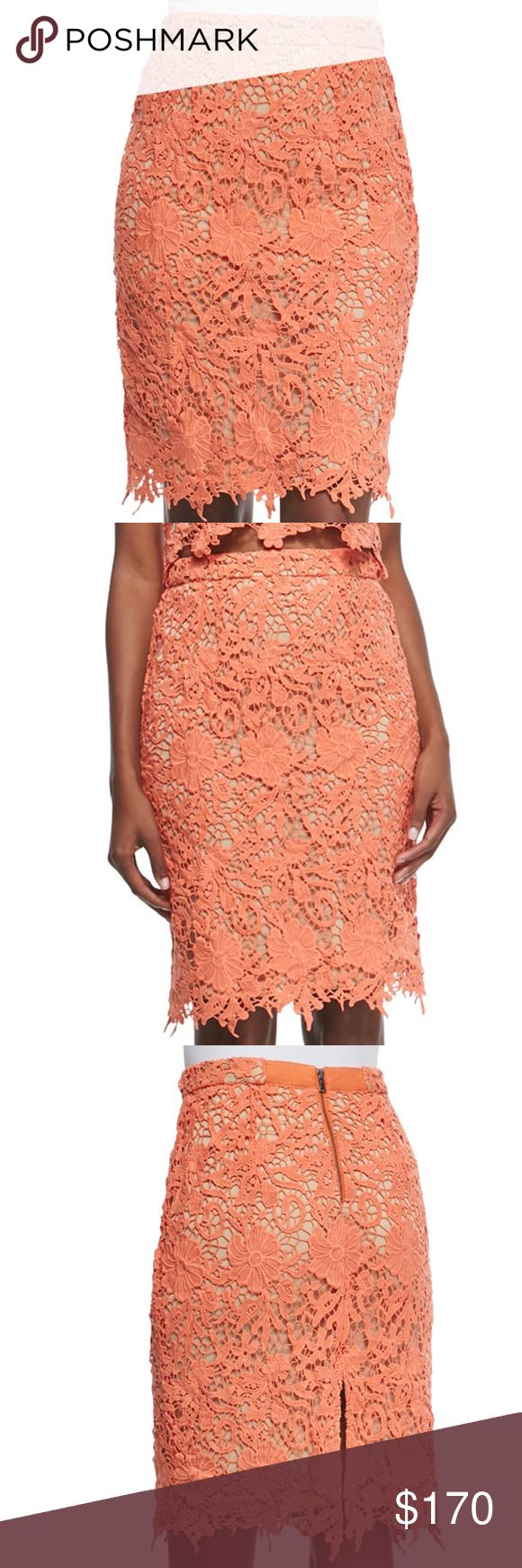 NWT Alice + Olivia FARRELL LACE PENCIL SKIRT Crafted from the finest lace, Alice + Olivia's floral crochet Farrel skirt is a refined daytime option.  Featuring a back zip and a scalloped hem, this midi style is finished in a coral hue.  Wear yours with delicate sandal heels and a structured top. Alice + Olivia Skirts Mini
