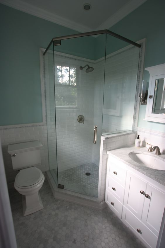 Small master bath reno is complete! Hexagon marble floor tile, beveled subway tile, marble accent tile, glass neo-angle shower enclosure. All in all very pleased with the final results!: