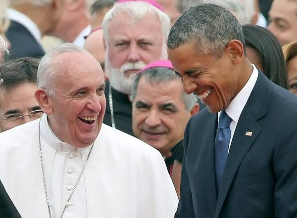 Pope Francis & Obama U.S. 2015 sharing a big laugh, this is such a candid genuine moment.<3