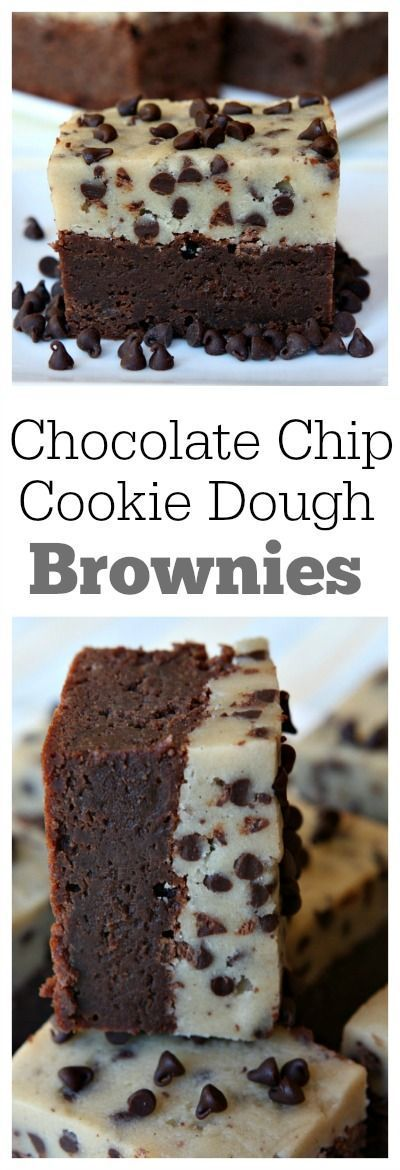 Chocolate Chip Cookie Dough Brownies Recipe. http://artonsun.blogspot.com/2015/05/chocolate-chip-cookie-dough-brownies.html