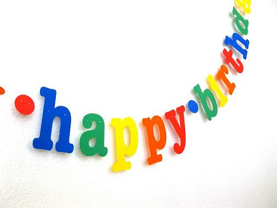 happy birthday Banner in Primary Colors.  Ships Priority.