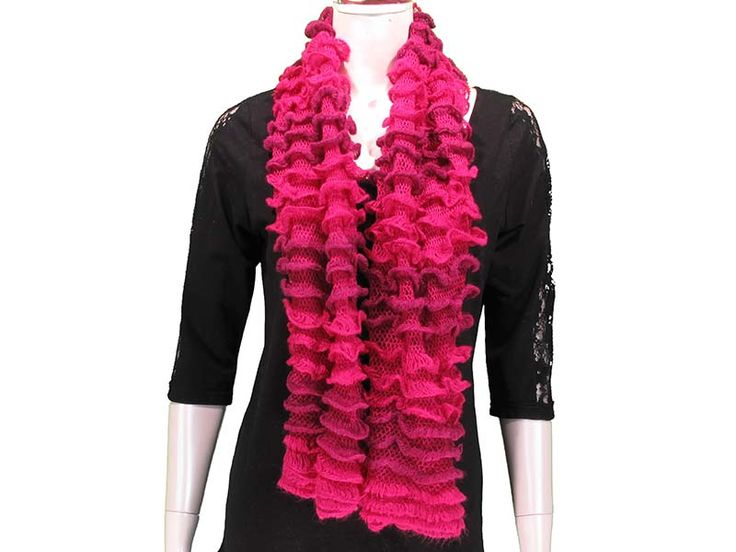 Ruffled Tube Scarf - This Ruffled Tube Scarf  can be worn as a shorty infinity, or as a long scarf.  Ruffled layers provide extra softness and lightness to the scarf, with beautiful colours to match any outfit! Available in Black, White/Grey, Pink, Coral, Red, Mint, Royal.