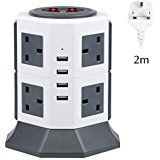 Extension Lead, PRITEK 8 Way Outlets Power Strip with 4 Smart USB Ports 10A/2500W 1000 Joules Surge Protector Charging Station with 6.5ft Extension Cord (White & Gray)