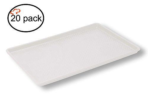 Tiger Chef 18 x 26 inch Plastic Tray White, Textured (20, 18x26 inch White)