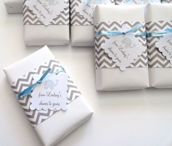 Baby Shower Favors with Gray Chevron Theme & by mimozahandcrafted