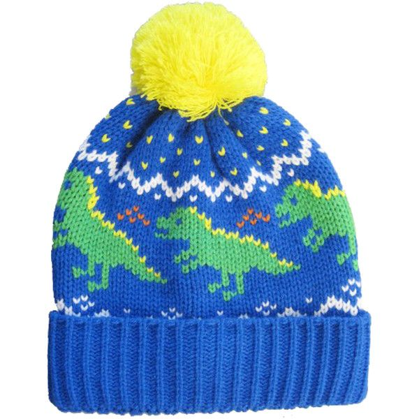 DINO WINTER HAT (200 MXN) ❤ liked on Polyvore featuring accessories, hats, beanies, head, beanie cap hat, flippies hats, pom pom hat, print hats and flip hat