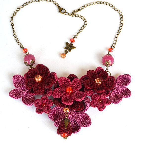 purple crochet necklaceburgundy flower bibcrochet by Marmotescu