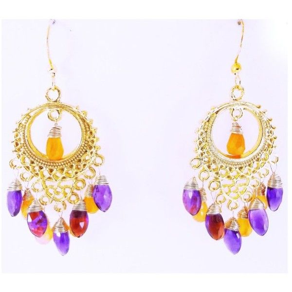 24k Gold Over Sterling Silver Earrings ($39) ❤ liked on Polyvore featuring jewelry, earrings, purple, teardrop earrings, earring jewelry, wire wrapped earrings, 24 karat gold earrings and 24k gold jewelry