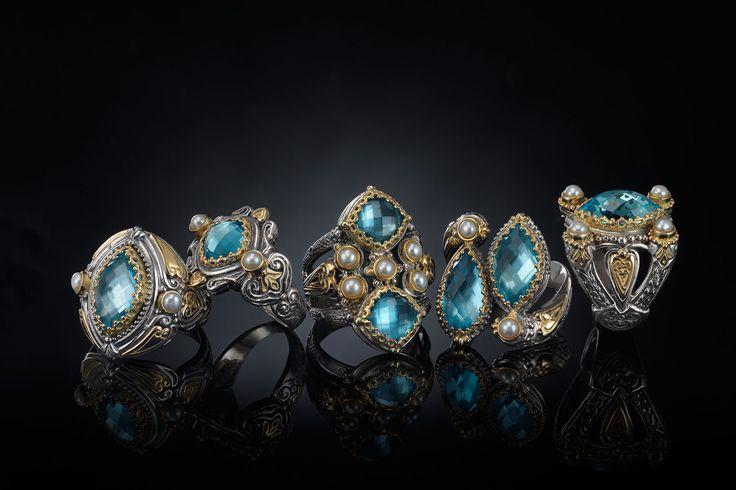 KONSTANTINO | The Amphitrite Woman collection #rings #goldRings #ring #goldRing #gold #silverSterling #konstantino #jewelry #greekJewelry #rockJewelry #jewels #treasure #womensfashion #amphitrite #seablueagate