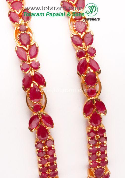 Totaram Jewelers: Buy 22 karat Gold jewelry & Diamond jewellery from India: 22K Gold Ruby Bangle - Set of 2(1 Pair).