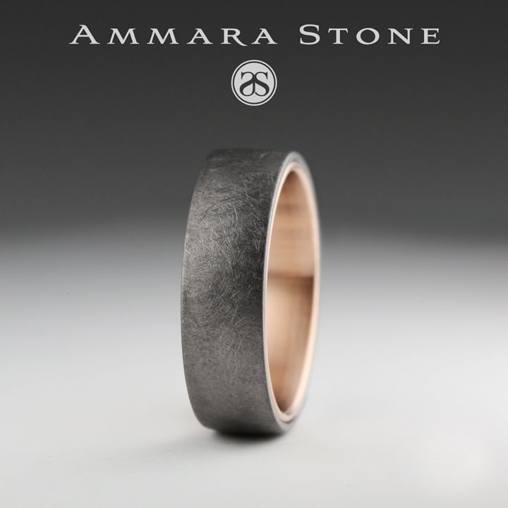 6 5mm Ring In Ring Men S Wedding Band With A 14k Rose Gold Center And A Grey Tantalum Outer Rings Mens Wedding Bands Mens Wedding Bands Titanium Wedding Rings