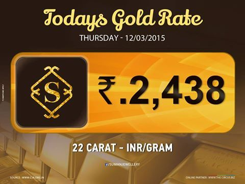 Latest #gold_rate at #Sumanjewellery Rush before the prices rebound.