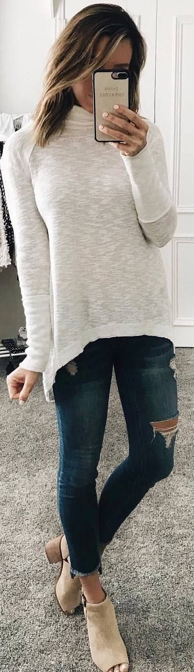 #winter #outfits white sweater, ripped jeans, toeless boots