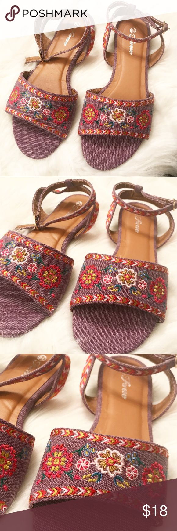 Purple Embroidered Sandals This is a purple embroidered flat sandals. True to size. Forever Shoes Sandals