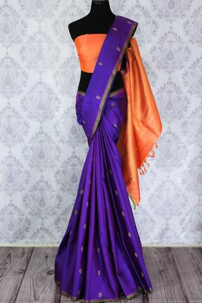 Beautiful purple Kanjeevaram silk sari is an alluring drape for festivals and special occasions! The saree is decorated with zari buta and orange zari pallu which makes it all the more rich. It comes with an orange blouse piece. Shop online at Pure Elegance or visit our store in USA.