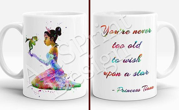 Princess Tiana and the Frog quote Mug Watercolor Art Cup