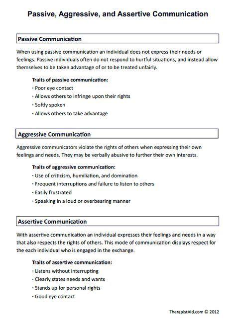 Passive, Aggressive, and Assertive Communication ...