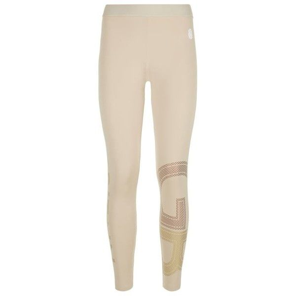 Adidas By Stella McCartney Team GB Gold Logo Cropped Tights ($59) ❤ liked on Polyvore featuring activewear, activewear pants, adidas, adidas activewear, logo sportswear and adidas sportswear
