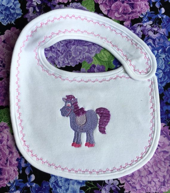 Embroidered bib pony embroidery baby bib by Pobblebonksdesigns