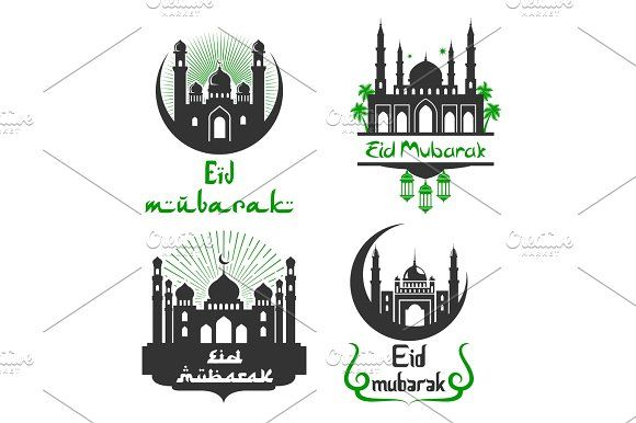 Eid Mubarak Muslim festival vector greetings set Graphics Eid Mubarak greetings for Arabic religious festival celebration. Vector icons set of mosque in cresc by Vector Tradition SM