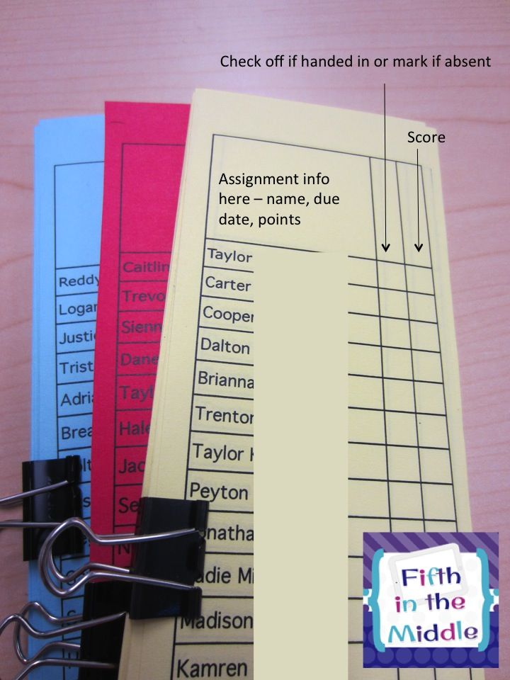 Use a cover slip when collecting assignments. Grade the assignment, record the grade on the cover slip, then pass the papers back to students. No alphabetizing papers for the grade book.