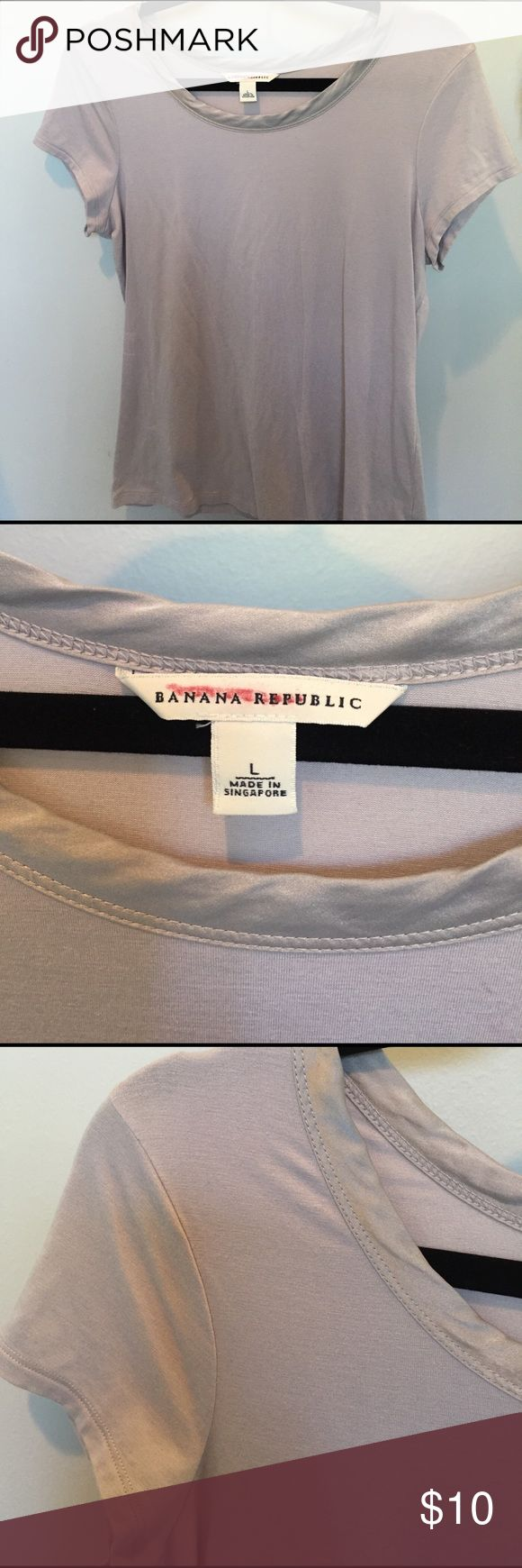 Banana Republic Luxe Touch T-shirt Pale gray tee with satin trim neckline. Fitted large. EUC 🏡🚭🏡 Banana Republic Tops Tees - Short Sleeve