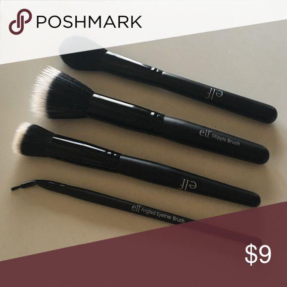 new elf brushes. elf brush lot - eyeliner, blush, stipple new brushes