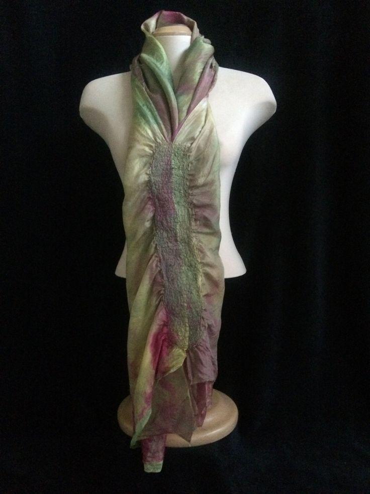 A hand dyed silk scarf/shawl/headscarf nuno felted wool accent. by FeltTheFluff on Etsy